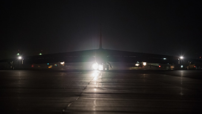 A B-52H Stratofortress taxis before takeoff Oct. 10, 2019, for a Bomber Task Force deployment from Barksdale Air Force Base, Louisiana, to Royal Air Force Fairford, England.
