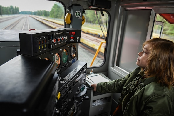 Declan Gaskill, Joint Base Lewis-McChord (JBLM) Pilot for a Day (PFAD) participant, operates a railway engine at the JBLM train depot as part of his PFAD itinerary May 21, 2019. The PFAD program is sponsored by the local Air Force Association and aims to gives kids with physical or mental difficulties a day to have fun and see part of what a military member might do in a workday.