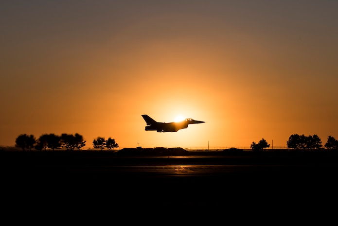 A U.S. Air Force F-16 Fighting Falcon aircraft on from the 8th Fighter Wing takes off for a routine training flight at Kunsan Air Base, Republic of Korea, Oct. 8, 2019. The 8th FW is comprised of two F-16 squadrons, and its primary mission is conducting air-to-ground and air-to-air missions against adversaries when called upon. (U.S. Air Force photo by Senior Airman Stefan Alvarez)
