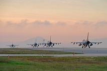 "U.S. Air Force F-16 Fighting Falcons assigned to the 8th Fighter Wing prepare to take-off for a routine training flight at Kunsan Air Base, Republic of Korea, Oct. 10, 2019. The 8th FW is home to two fighter squadrons, the 35th Fight Squadron ""Pantons"" and 80th FS ""Juvats."" They perform air and space control roles including counter air, strategic attack, interdiction and close-air support missions. (U.S. Air Force photo by Staff Sgt. Mackenzie Mendez)"