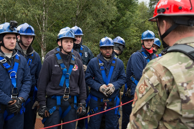 U.S. Air Force Staff Sgt. Robert Wellborn, 435th Construction and Training Squadron fire rescue and contingency training instructor, teaches students about rescuing suspended victims at the 435th CTS compound near Ramstein Air Base, Germany, Oct. 10, 2019. The Rescue Technician I Course is a 15-day course that certifies firefighters on difficult rescue techniques.