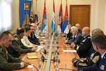 Maj. Gen. John C. Harris Jr. (right), Ohio adjutant general, meets with Serbian Prime Minister Ana Brnabić Sept. 11, 2019, in Belgrade, Serbia. Harris and Brnabić discussed the growing Ohio-Serbia partnership through military-to-military and civil-to-civil exchanges as part of the Department of Defense State Partnership Program.