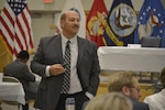 Ray Miller, former DLA Troop Support Subsistence supply chain deputy director and keynote speaker for Troop Support Leadership Academy Oct. 8, 2019, in Philadelphia, speaks to employees with leadership aspirations.
