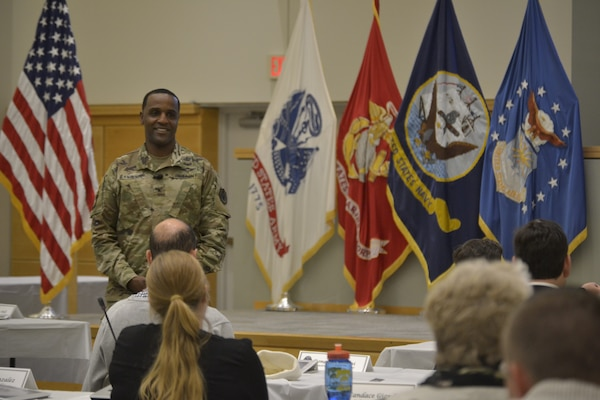 DLA Troop Support Commander Army Brig. Gen. Gavin Lawrence exchanges comments with employees after a three-day Troop Support Leadership Academy program Oct. 10, 2019, in Philadelphia.