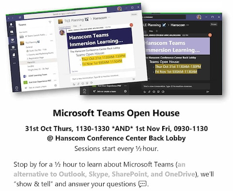 Graphic for Microsoft Teams Open Houses that will be held at the Hanscom Air Force Base, Mass., Conference Center Oct. 31 from 11:30 a.m. to 1:30 p.m. and Nov. 1 from 9:30 to 11:30 a.m. (Courtesy graphic)