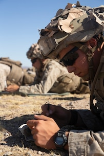 U.S. Marines with 1st Battalion, 6th Marine Regiment, 2nd Marine Division utilize M252 81mm mortar systems for a Fire Support Coordination Exercise during Integrated Training Exercise 1-20 at Marine Air Ground Combat Center, Twentynine Palms, Calif., Oct. 4, 2019. The Marines were coordinated by forward observers in fire support teams in conjunction with M777-A2 Howitzers and rotary elements to train for success on a modern battlefield. (U.S. Marine Corps photo by Cpl. Timothy J. Lutz)