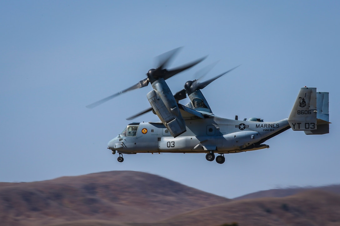 An MV-22B Osprey takes off from Marine Corps Air Station Camp Pendleton, California, Oct. 10, 2019. The air station operates and maintains a secure airfield in order to support I Marine Expeditionary Force, Marine Corps Base Camp Pendleton tenant commands and visiting units to enhance their mission capabilities and combat readiness.