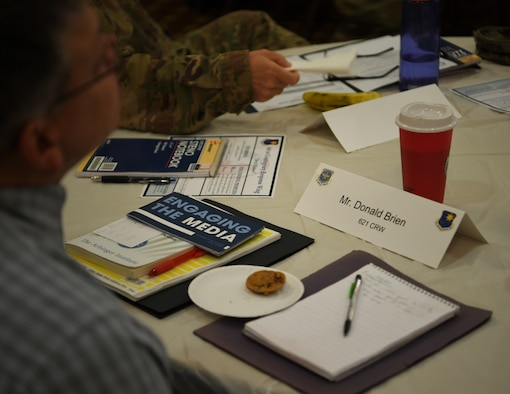 Donald Brien, 621st Contingency Response Wing inspector general, listen to briefings during the Leadership Summit Oct. 3, 2019 at Joint Base McGuire-Dix-Lakehurst, N.J. The Leadership Summit was held to build unit cohesion and address issues affecting the CRW.