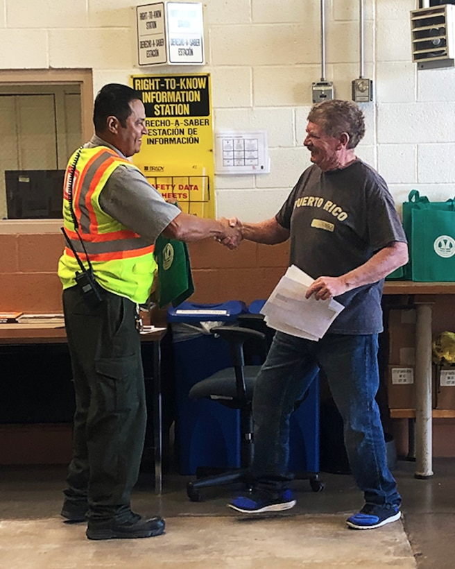 "Santa Rosa park ranger Paul Sanchez (left) thanks ""Ranger Bob"" Mumford for his support of the Santa Rosa NPLD event, Sept. 21, 2019."