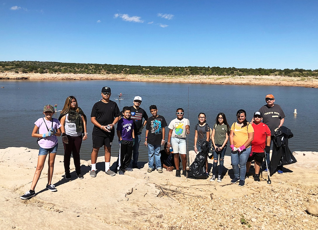 Some of the volunteers who came out for National Public Lands Day at Santa Rosa Lake, N.M., Sept. 21, 2019.