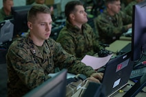 Marine Capt. Zachariah A. Gober inputs data onto a computer during Exercise Pegasus Flight at Marine Corps Air Station Cherry Point, North Carolina, Oct. 1, 2019. Marine Tactical Air Command Squadron 28 supported Pegasus Flight by planning, commanding, directing and supervising all air operations as the tactical air command center for the exercise. Gober is an air support control officer with MTACS-28, Marine Air Control Group 28, 2nd Marine Aircraft Wing. (U.S. Marine Corps photo by Pfc. Steven M. Walls)