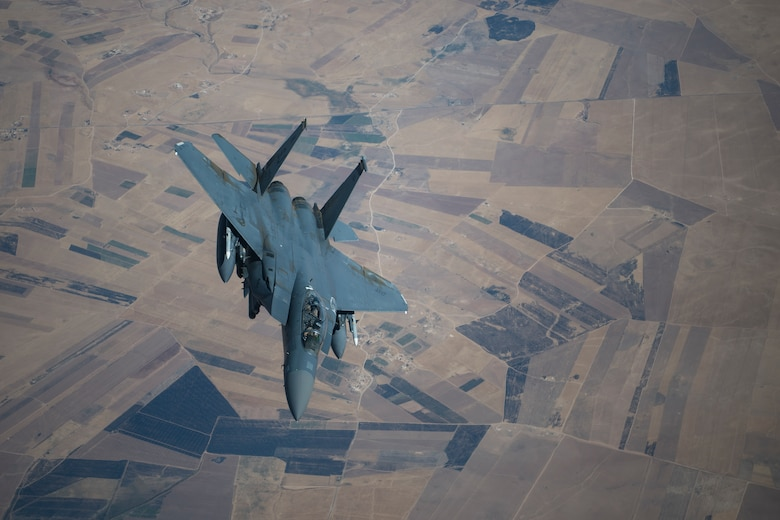 An F-15E Strike Eagle conducts a combat air patrol mission