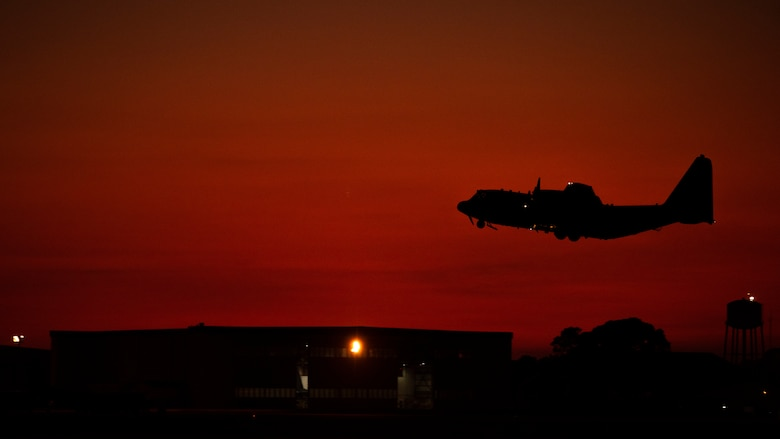 An AC-130J Ghostrider gunship takes off