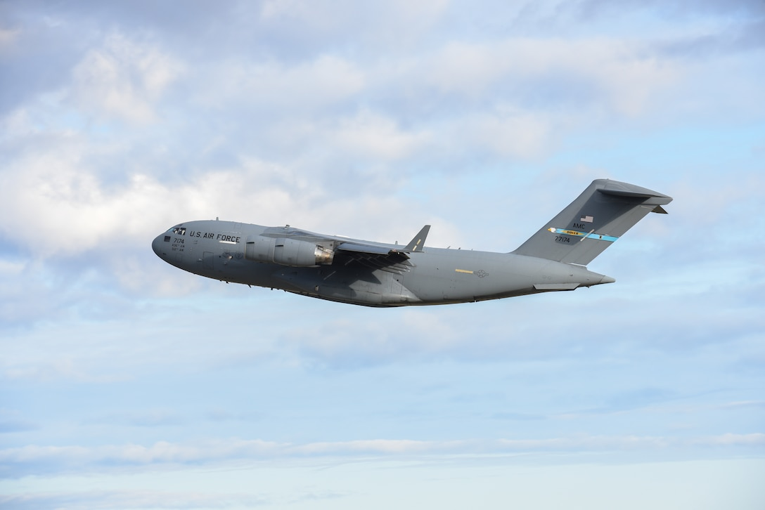 A C-17 Globemaster III takes off during exercise Mobility Guardian 2019