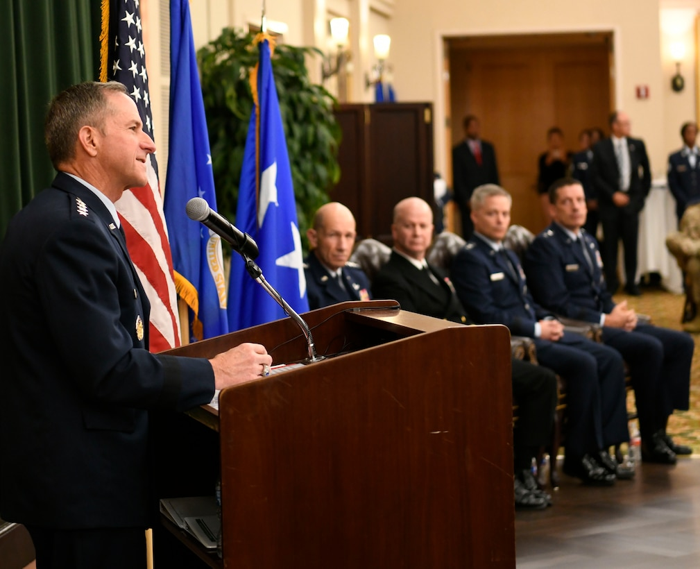 Air Force Chief of Staff Gen. David L. Goldfein provides opening remarks for the Sixteenth Air Force Assumption of Command at Joint Base San Antonio-Lackland, Texas, Oct. 11, 2019. Twenty-Fourth and Twenty-Fifth Air Forces were inactivated during the ceremony to integrate into the new information warfare Numbered Air Force. Sixteenth Air Force is responsible for providing IW capabilities to combatant commanders with the speed to match today's technological environment. (U.S. Air Force photo by Tech. Sgt. R.J. Biermann)