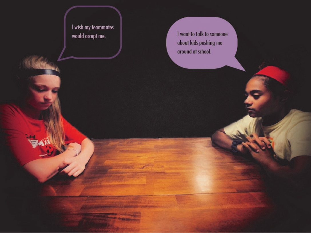 """Savannah, on left, thinking """"I wish my teammates would accept me."""" Sophie, on right, thinking, """"I want to talk to someone about kids pushing me around at school."""" October is National Bullying Prevention Month. The theme for this year is """"Stomp out Bullying."""" (U.S. Air Force graphic illustration/Michael McGowan, Jr.)"""
