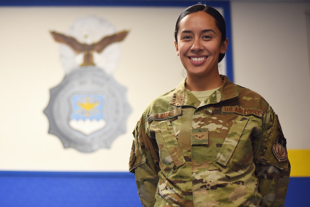 Airman 1st Class Sierra Lamas, 841st Missile Security Forces Squadron defender, poses for a photo Oct. 9, 2019, at Malmstrom Air Force Base, Mont.