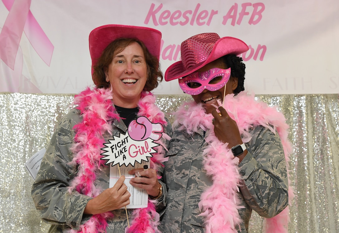 U.S. Air Force Col. Theresa Vernoski, 81st Surgical Operations Squadron perioperative master clinician, and Col. Marcia Smith, 81st MSGS anesthesia master clinician, pose for a photo during the 81st Medical Group Health Expo inside the Keesler Medical Center at Keesler Air Force Base, Mississippi, Oct. 4, 2019. The 81st MDG hosted the walk-in event which included screenings for multiple types of cancer and chronic diseases in honor of Breast Cancer Awareness Month. (U.S. Air Force photo by Kemberly Groue)