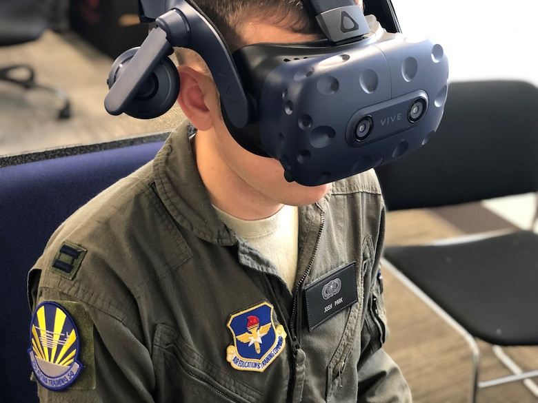 U.S. Air Force Capt. Josh Park, 23rd Flying Training Squadron Specialized Undergraduate Pilot training - Helicopter Class 20-02 student, flies a virtual reality sortie at Fort Rucker, Ala., Oct. 9, 2019.  The class used VR as part of an experimental project in an effort to transform the way helicopter pilots are trained. (U.S. Air Force courtesy photo)