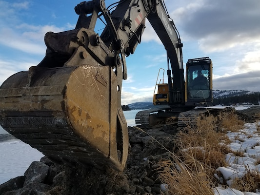 Construction of shoreline protection progresses December 15, 2018.