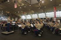 U.S. Marines with the III Marine Expeditionary Forces Band perform at Camp Foster Fieldhouse during Comic Con Okinawa, Japan, Oct. 13, 2019.