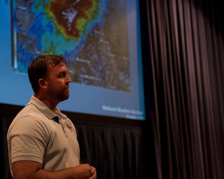 Greg Heavener, National Weather service warning coordination meteorologist, teaches the SKYWARN course to service members, civilians, contractors and dependents Oct. 3, 2019 on Peterson Air Force Base, Colorado. The SKYWARN course trains volunteers how to accurately report and measure weather phenomena to the NWS to confirm storms and increase weather warning time. (U.S, Air Force photo by Airman Alexis Christian)
