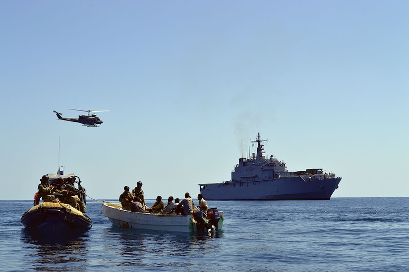 In November 2012, EU Naval Force flagship ITS SanGiusto captures suspected pirates as part of Operation Atalanta—also known as European Union Naval Force Somalia (EU-NAVFOR-ATALANTA)—part of a larger global action by the EU to prevent and combat acts of piracy off the coast of Somalia. (EU-NAVFOR-ATALANTA)