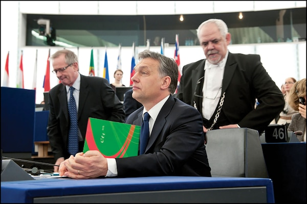 Viktor Orbán, the Prime Minister of Hungary, during a European parliament debate in 2012 on the political situation in Hungary. Passions ran high in the chamber as several political group leaders raised concerns not only over specific legal and constitutional provisions in Hungary, but also what they saw as a wider undermining of democratic values in that country. (© European Union 2012 EP/Pietro Naj-Olear)