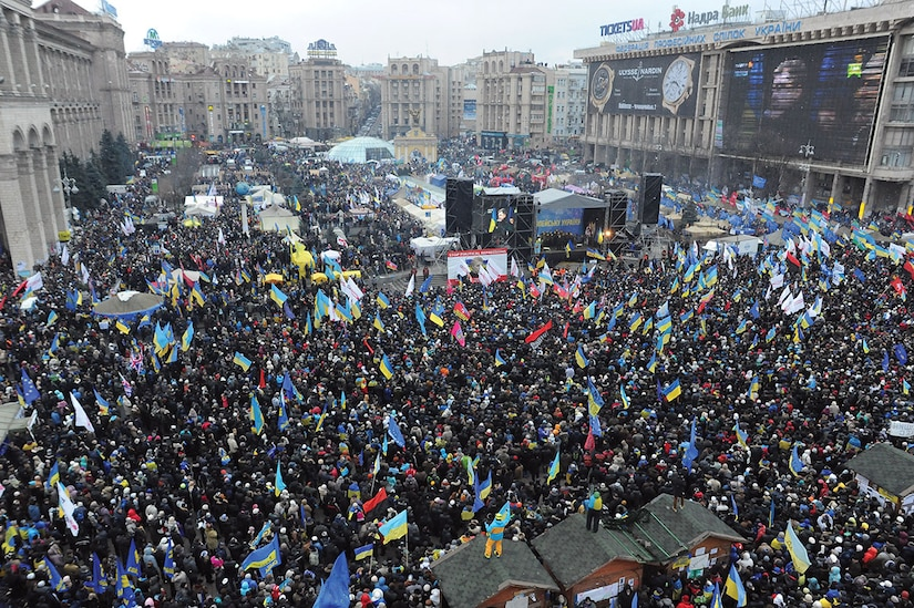 Euromaidan panoramic view taken from the top of the Revolution Christmas tree. December 8, 2013.