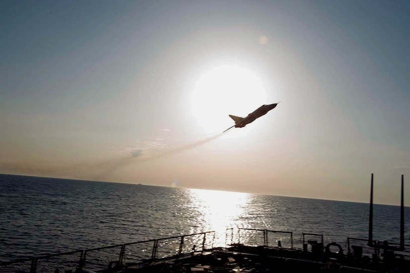 BALTIC SEA (April 12, 2016) A Russian Sukhoi Su-24 attack aircraft makes a low altitude pass by USS Donald Cook (DDG 75) April 12, 2016. Donald Cook, an Arleigh Burke-class guided-missile destroyer forward deployed to Rota, Spain, is conducting a routine patrol in the U.S. 6th Fleet area of operations in support of U.S. national security interests in Europe. (U.S. Navy photo/Released) 160412-N-ZZ999-007 Join the conversation: