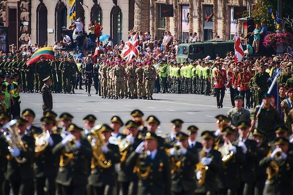 In August 2018, service members from many nations were represented in the Ukrainian Independence Day parade. Joint Multinational Training Group-Ukraine has been ongoing since 2015 and seeks to contribute to Ukraine's internal defense capabilities and training capacity. (Tennessee Army National Guard)
