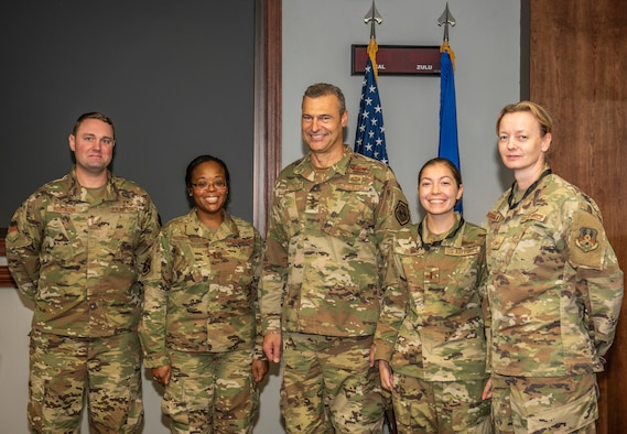 U.S. Air Force Lt. Gen. Joseph Guastella, U.S. Air Force's Central Command commander, recognizes the team of Airmen that responded to an Airman's call for help at Shaw Air Force Base, South Carolina, Oct. 3, 2019.