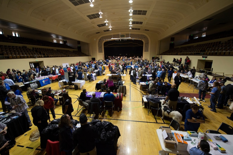 COLORADO SPRINGS, Colo. – Homeless veterans from across the Front Range receive support and assistance during the 21st annual Homeless Veteran Stand Down at the Colorado Springs City Auditorium, Colorado Springs, Colorado, Oct. 15, 2019. Approximately 150 veterans were provided hot meals, haircuts, dental work, winter clothing and the opportunity to register in the Veteran Administration's database. (U.S. Air Force photo by Staff Sgt. Matthew Coleman-Foster)