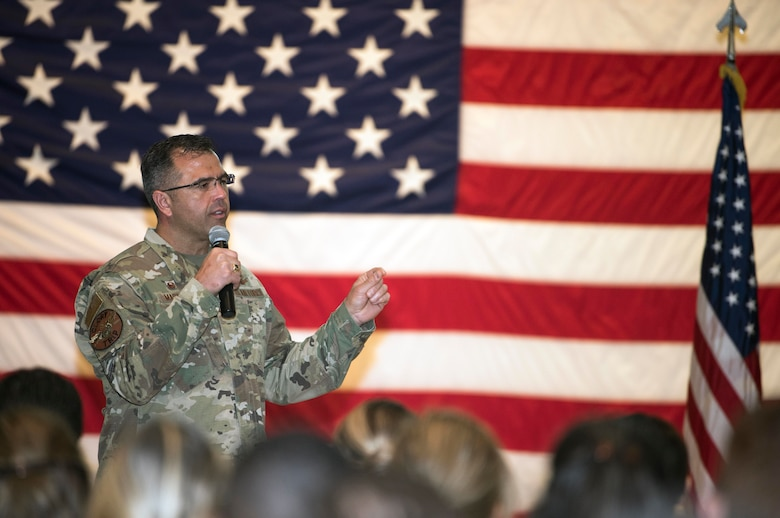 Col. Anthony Mastalir, 30th Space Wing Commander, speaks during his first all-call Oct. 15, 2019, at Vandenberg Air Force Base, Calif. Mastalir spoke about base-wide changes, upcoming events and ongoing developments to build the Range of the Future. (U.S. Air Force photo by Airman 1st Class Hanah Abercrombie)