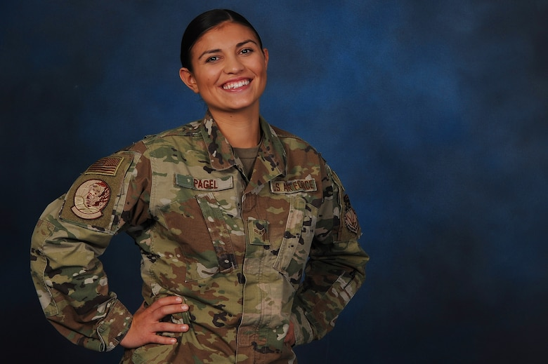 Airman 1st Class Alicia Pagel, 341st Missile Security Forces Squadron scheduler and dispatcher, poses for a photo Oct. 10, 2019, at Malmstrom Air Force Base, Mont.