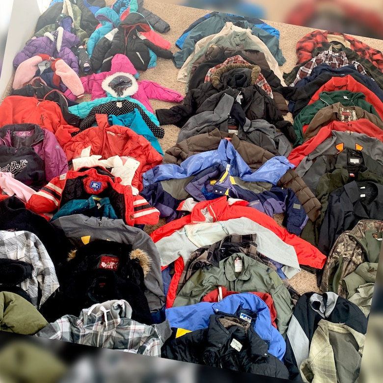 Pictured are various coats collected during a recent coat drive.
