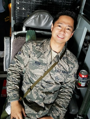 U.S. Air Force Senior Airman Earol Mora, a maintenance administration specialist assigned to the 128th Air Refueling Wing, Wisconsin Air National Guard, goes on a KC-135R Stratotaker flight. (Courtesy Photo Submission)