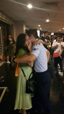 U.S. Air Force Senior Airman Earol Mora reunites with his mother in the Philippines after not seeing her for 15 years. (Courtesy Photo Submission)
