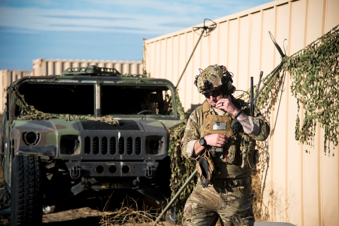 Tech Sgt. Timothy Emkey, 366th Fighter Wing survival, evasion, resistance and escape specialist, checks radio communications Sept. 26, 2019, at Saylor Creek Bombing Range, Idaho.