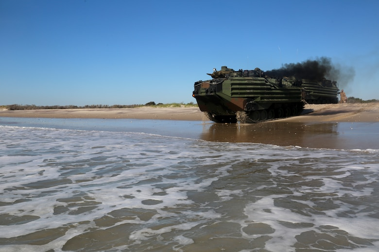 U.S. Marines with Assault Amphibious Vehicle Platoon, Battalion Landing Team, 2nd Battalion, 8th Marine Regiment, 26th Marine Expeditionary Unit, drive into the Atlantic Ocean off the coast of Camp Lejeune, N.C., Oct. 12, 2019. The 26th MEU is underway conducting a composite training unit exercise with the Bataan Amphibious Ready Group.  (U.S. Marine Corps photo by Staff Sgt. Patricia A. Morris)