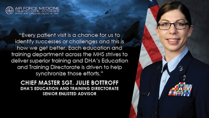 U.S. Air Force Chief Master Sgt. Julie Bottroff, the senior enlisted advisor for the Defense Health Agency's Education and Training Directorate reflects on her roles and view on the transition of all military treatment facilities to DHA. (U.S. Air Force illustration)