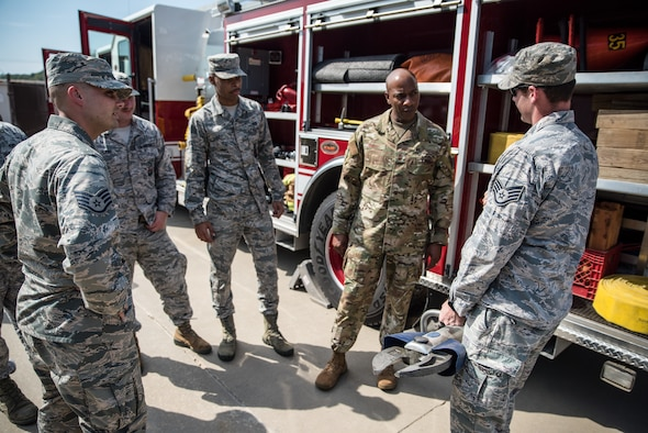 Chief Master Sergeant of the Air Force Kaleth O. Wright meets with 188th Wing firefighters at Ebbing Air National Guard Base, Fort Smith, Ark., Oct. 5, 2019. Wright spoke with the Airmen about issues they face in their career fields, and possible solutions. (U.S. Air National Guard photo by Staff Sgt. Matthew Matlock)