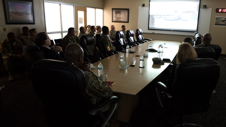 Chief Master Sergeant of the Air Force Kaleth O. Wright meets with the Chiefs of the 188th Wing at Fort Smith, Ark., Oct. 5, 2019. During the briefing each chief discussed their organization's capabilities and highlighted their Airmen's accomplishments. (U.S. Air National Guard photo by Tech. Sgt. Daniel J. Condit)