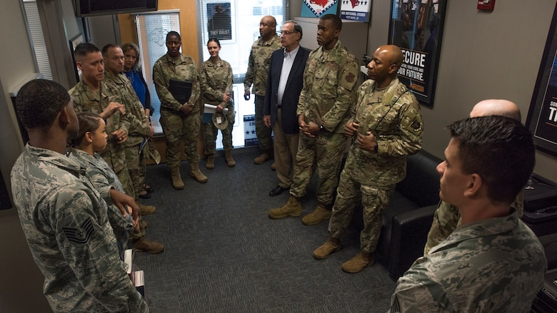 Chief Master Sergeant of the Air Force Kaleth O. Wright meets 188th Wing recruiters at Fort Smith, Ark., Oct. 5, 2019. During the visit Wright discussed his vision for Air Force recruitment and some ideas on how to better identify the Air Force and recruiter needs. (U.S. Air National Guard photo by Tech. Sgt. Daniel J. Condit)