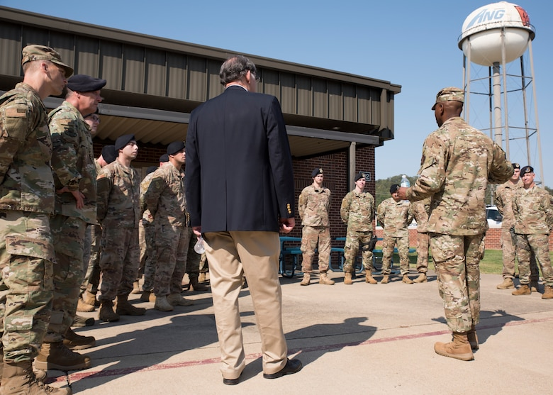U.S. Sen John Boozman, Ark., and Chief Master Sergeant of the Air Force Kaleth O. Wright  meet with members of the 188th Security Forces Squadron at Fort Smith, Ark., Oct. 5, 2019. Boozman and Wright talk about the future of the Arkansas Air National Guard and answered questions from wing members. (U.S. Air National Guard photo by Tech. Sgt. Daniel J. Condit)