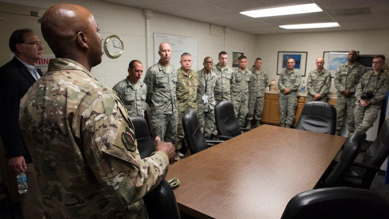 U.S. Sen John Boozman, Ark., and Chief Master Sergeant of the Air Force Kaleth O. Wright meet with members of the 188th Communications Squadron at Fort Smith, Ark., Oct. 5, 2019. Boozman and Wright talk about the future of the Arkansas Air National Guard and answered questions from wing members. (U.S. Air National Guard photo by Tech. Sgt. Daniel J. Condit)