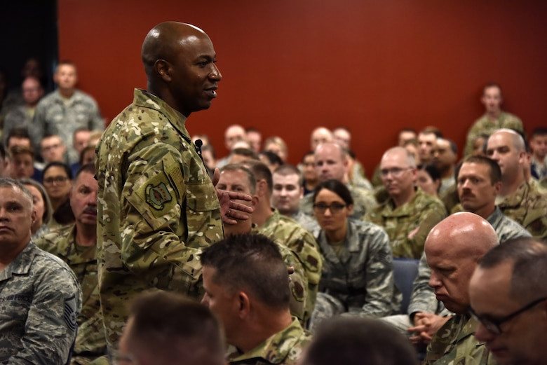 Chief Master Sergeant of the Air Force Kaleth O. Wright speaks with members of the 188th Wing during an all-call at Fort Smith, Ark., Oct. 6, 2019. Wright talked about important issues he would like to address during his last year and fielded questions by members of the wing. (U.S. Air National Guard photo by Tech. Sgt. Daniel J. Condit)