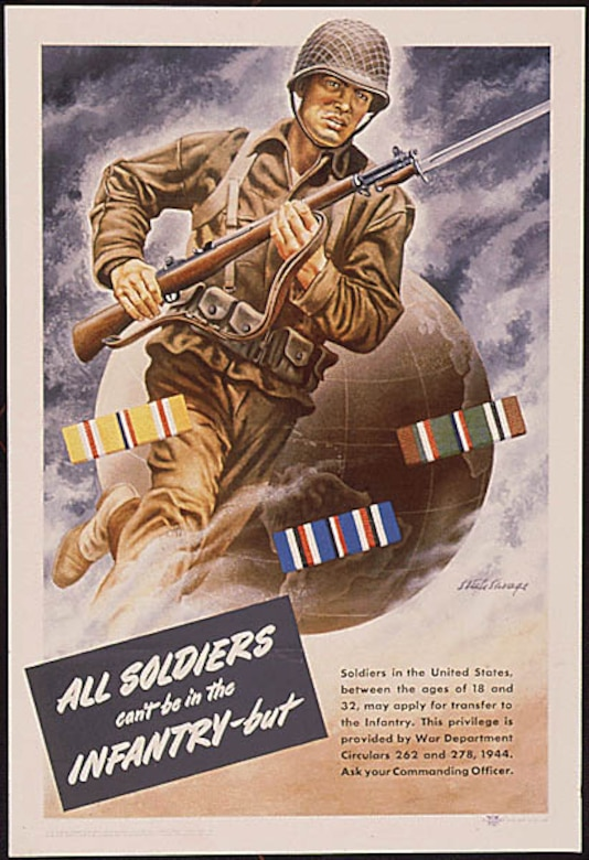"Poster with words ""All Soldiers can't be in the Infantry, but… ."""