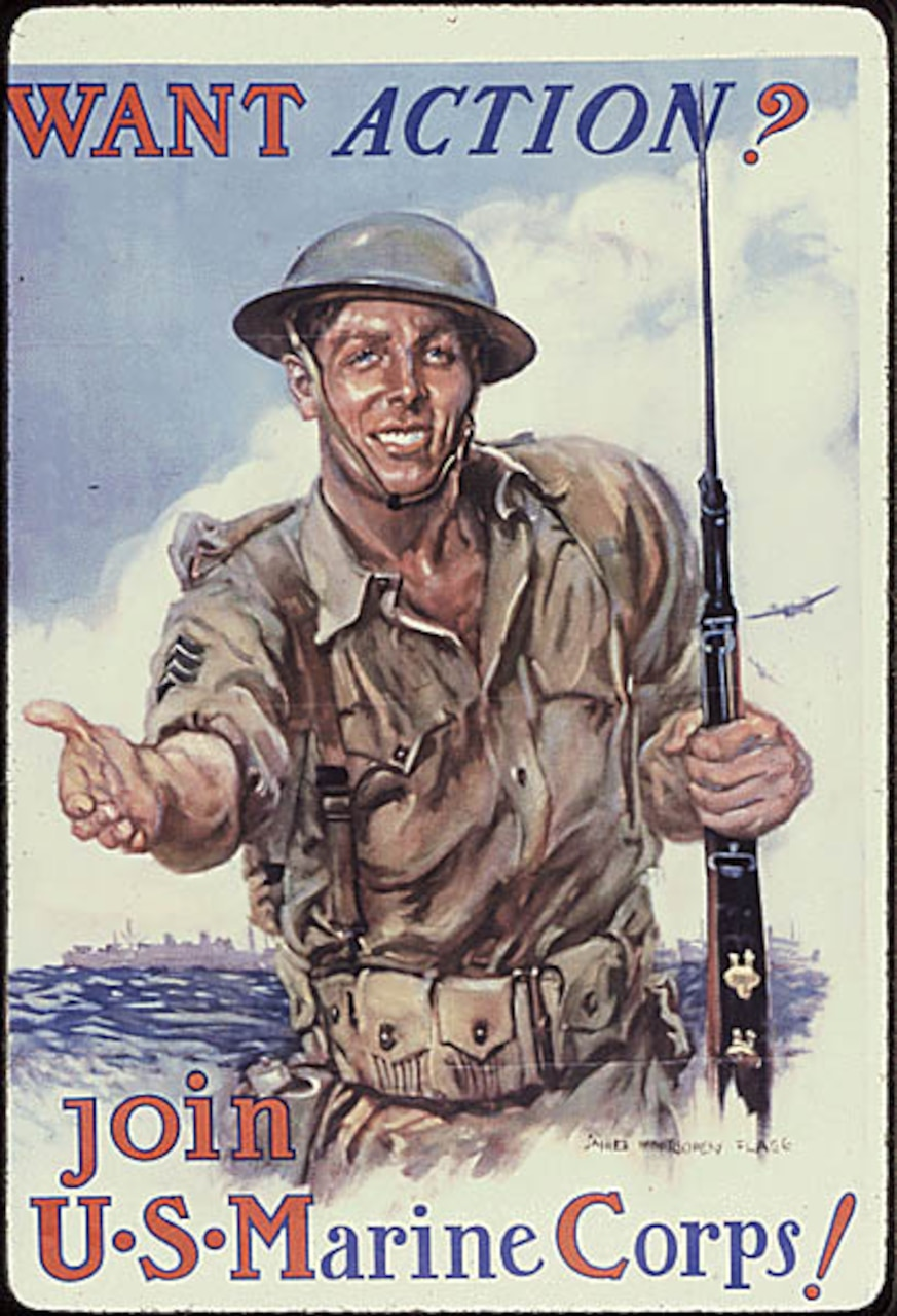 "Poster with words ""Want action? Join U.S. Marine Corps!"""