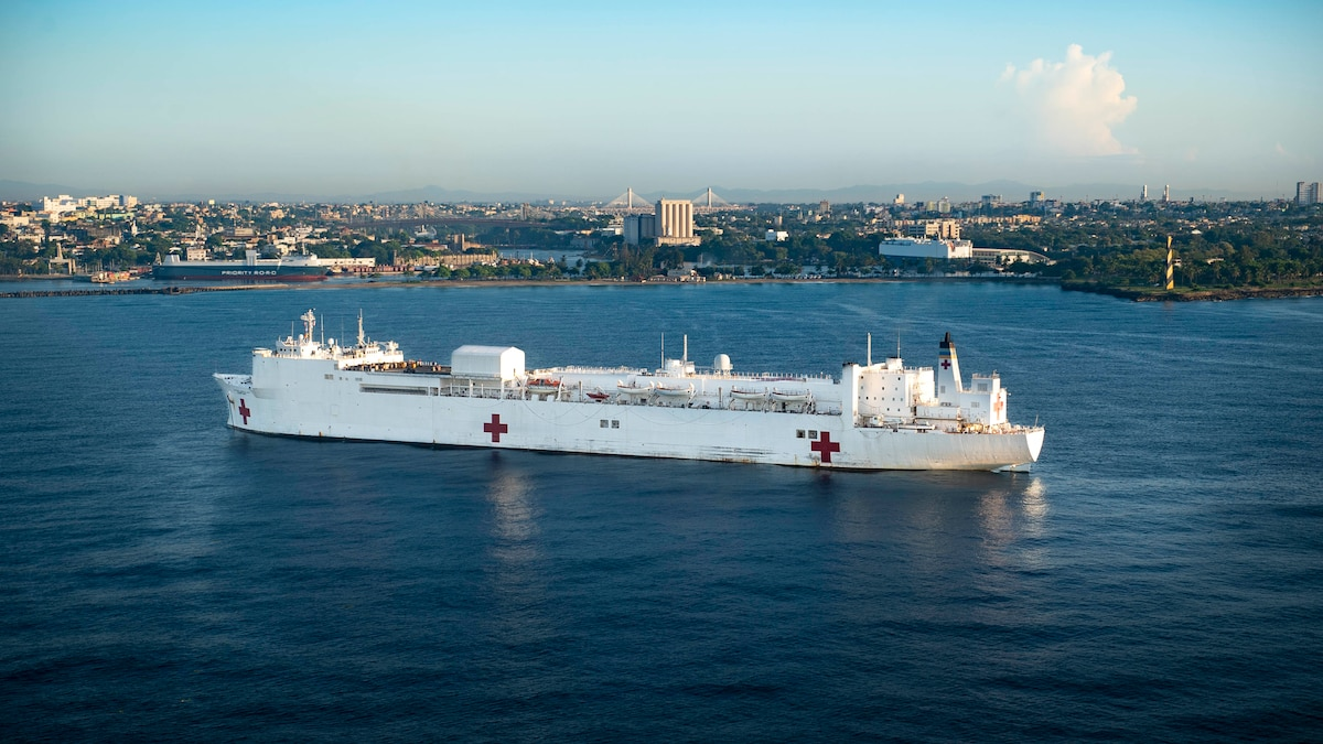 USNS Comfort anchored off the coast of Santo Domingo, Dominican Republic.